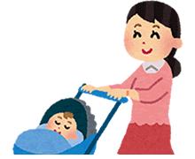 赤ちゃんのベビーカーの足元に