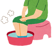 足湯時の湯温低下を補う器具として